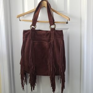 Lucky Brand Fringed Brown Suede Leather Tote